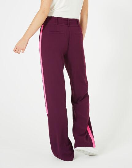 Pantalon cassis fluide bande côté Kamelia (5) - 1-2-3