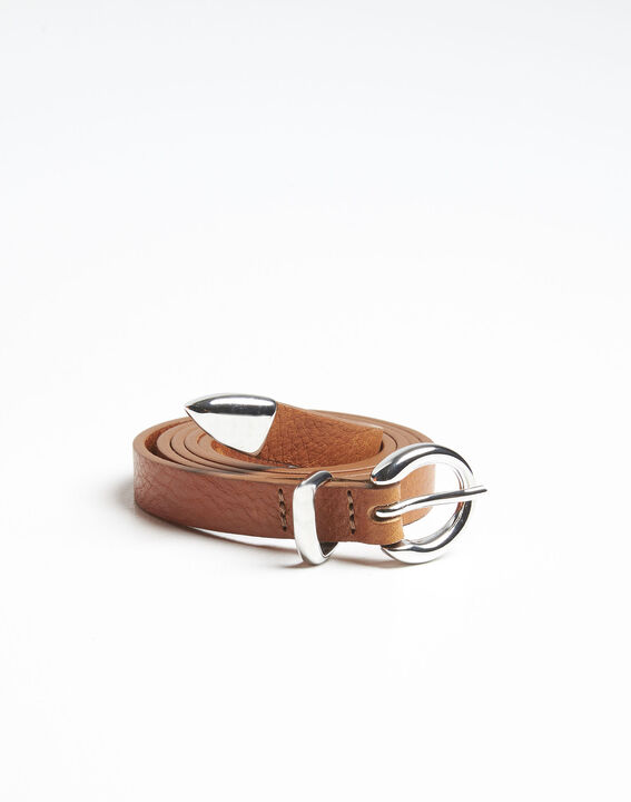 Quiria slim belt in light brown leather (2) - 1-2-3