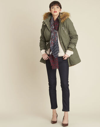 Pia khaki hooded faux fur down jacket leaf.