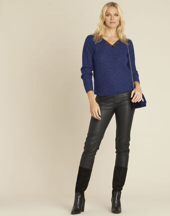 Bisou blue mohair mix pullover with lace neckline mid blue.