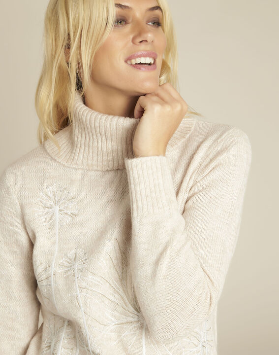 Bloom cream turtleneck pullover with embroidery (3) - Maison 123
