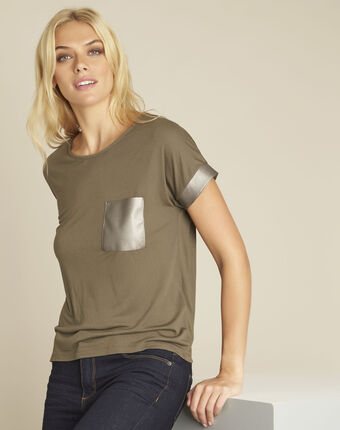 Gimini khaki t-shirt with faux leather panel leaf.