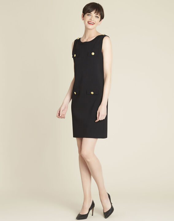 Brook black knit dress with gold-look buttons (3) - 1-2-3