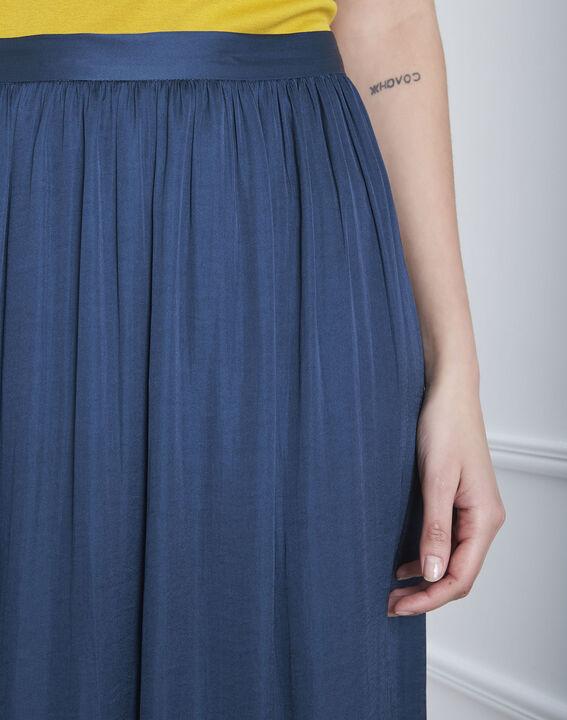 Jupe bleue longue effet satin Sissi (3) - Maison 123