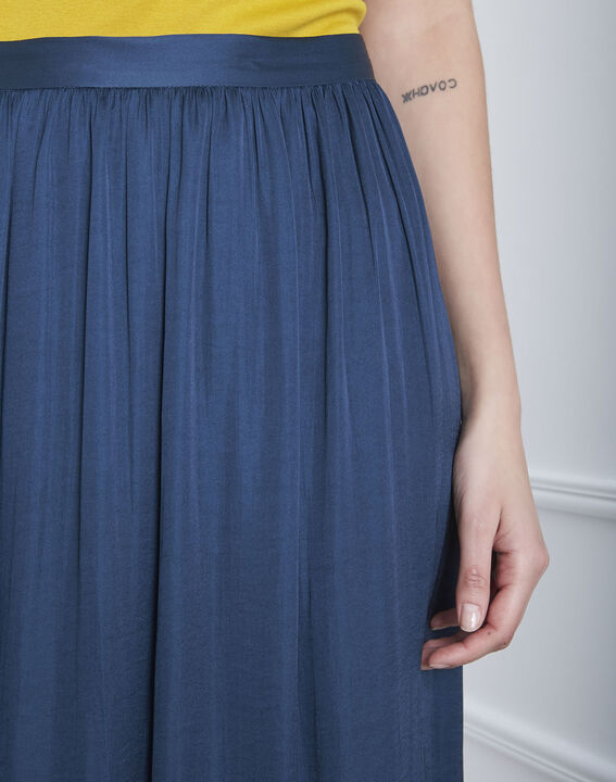 Langer, blauer Faltrock in Satin-Optik Sissi (3) - Maison 123