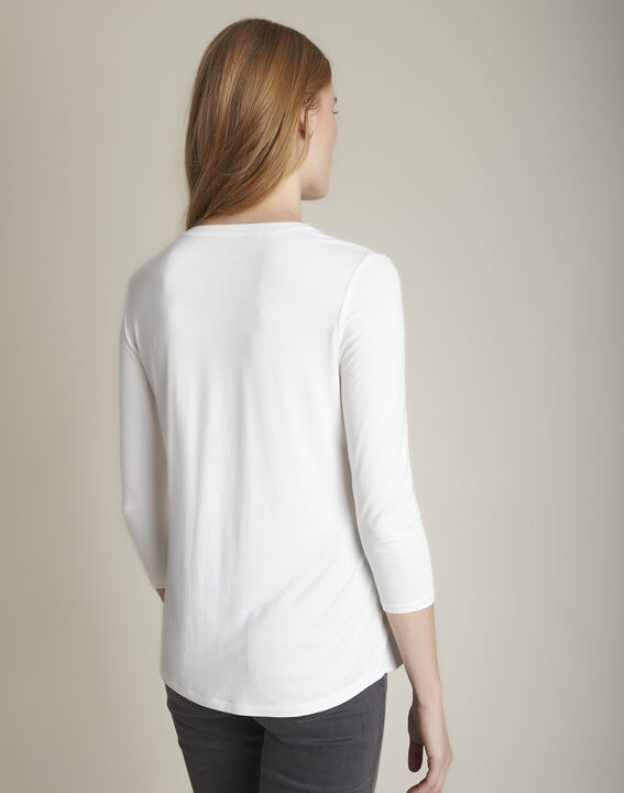 Bimaterial ecru blouse with Genna Henly collar  (4) - 1-2-3