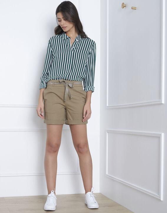 Short vert coton ceinture james
