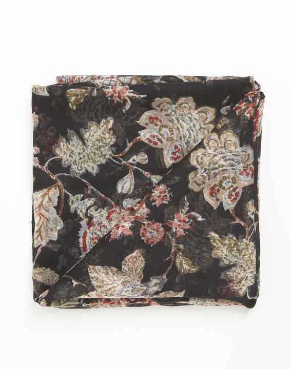 Floral black scarf with floral print (3) - 1-2-3
