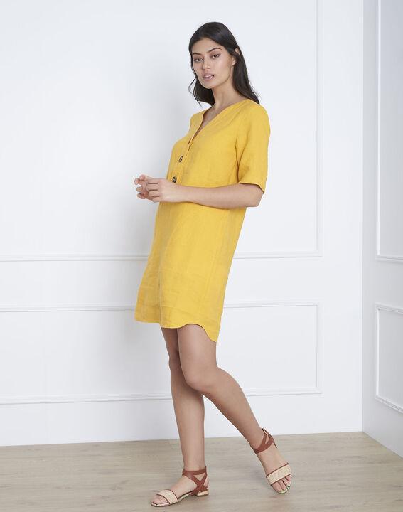 Robe jaune en lin Loanne (2) - Maison 123