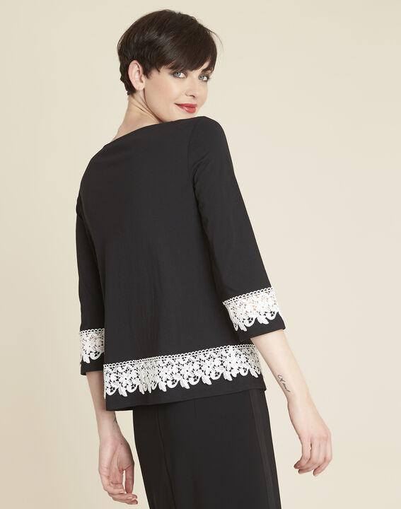 Zwart T-shirt met inzetstuk van kant Gentle (4) - 37653