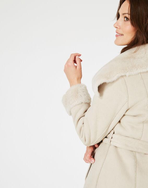 Manteau ficelle mi-long en peau lainée Lina (3) - 1-2-3