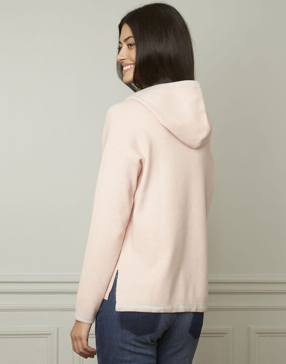 Anemone powder-coloured pullover with hood and lurex details (3) - Maison 123