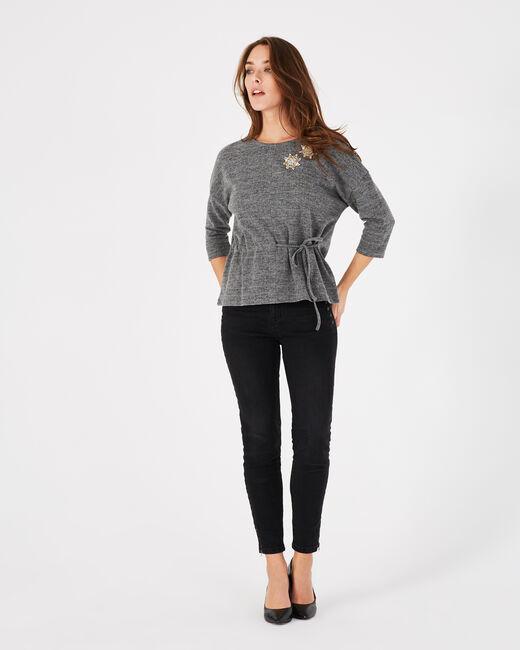 Tee-shirt gris chiné brodé Perles (1) - 1-2-3