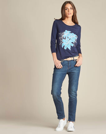 Enoopsy navy blue t-shirt with floral print navy.