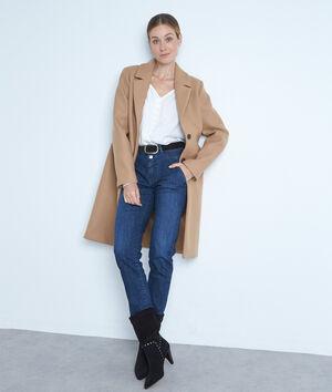 Manteau droit en laine canelle Loulou