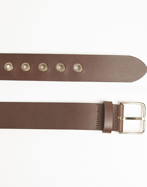 Quincy brown leather belt with a gold tone buckle (3) - 1-2-3