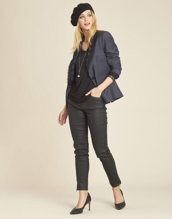 Zwart T-shirt met lange mouwen en kanten inzetstukken Girl (3) - 37653