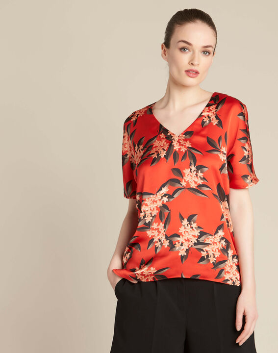 Romy red blouse with a floral print (3) - 1-2-3