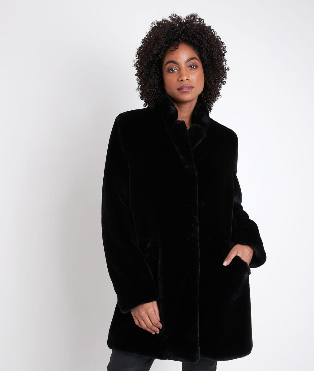 Manteau en fausse fourrure noire Olga PhotoZ | 1-2-3