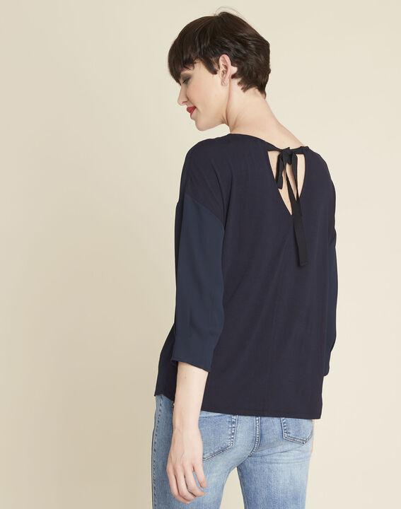 Marineblauwe blouse uit twee materialen met volants Cleo (4) - 37653