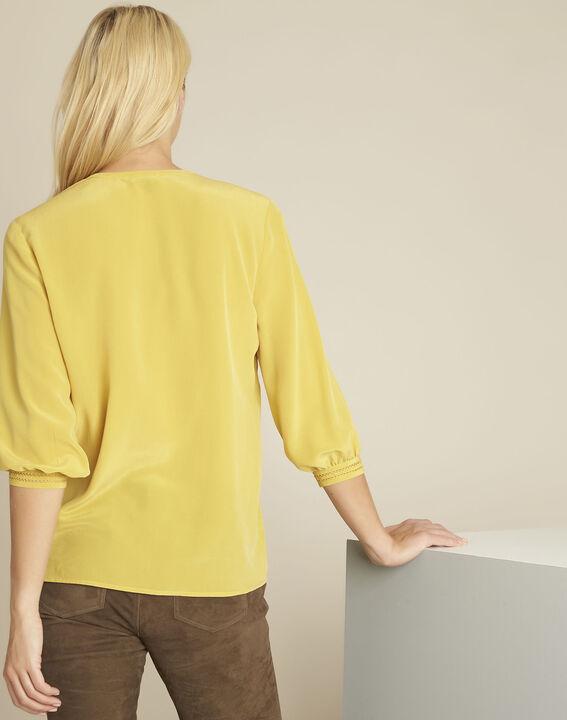 Blouse jaune dentelle en soie Cleopatre (4) - 1-2-3