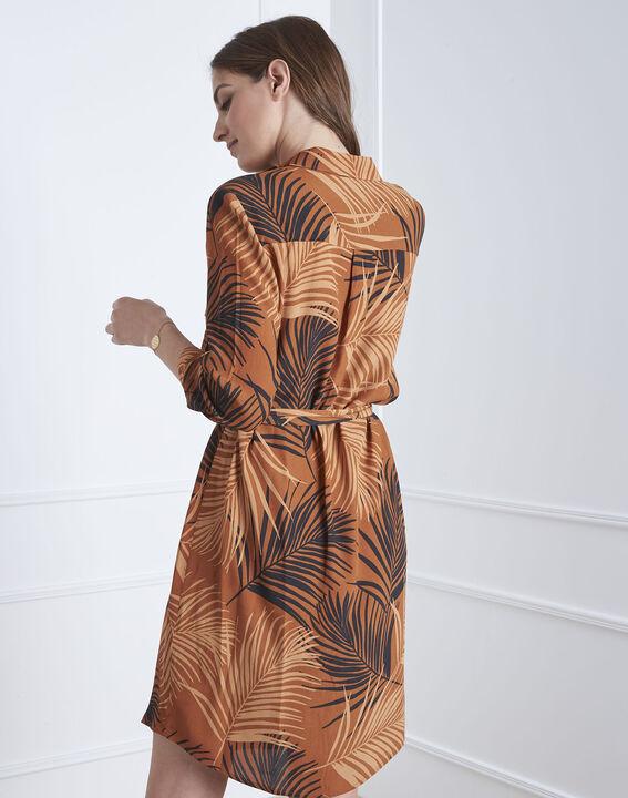 Robe acajou imprimé palme Lily (4) - Maison 123