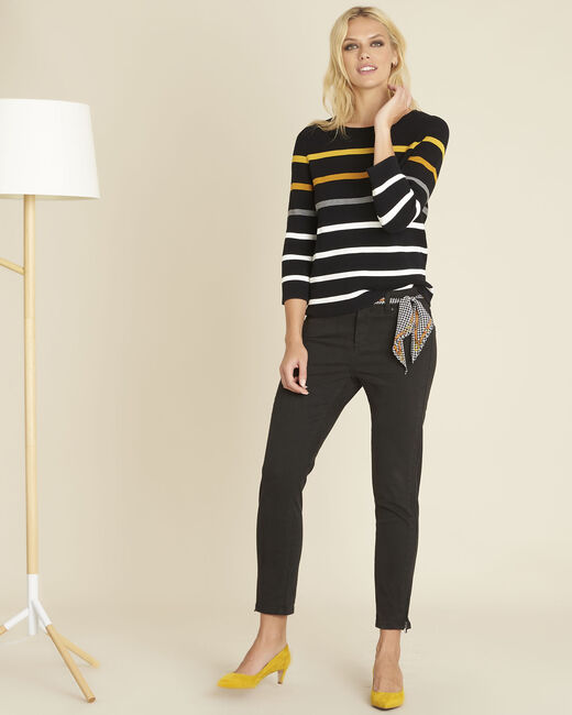 Berlingot black fine-knit striped sweater (2) - 1-2-3