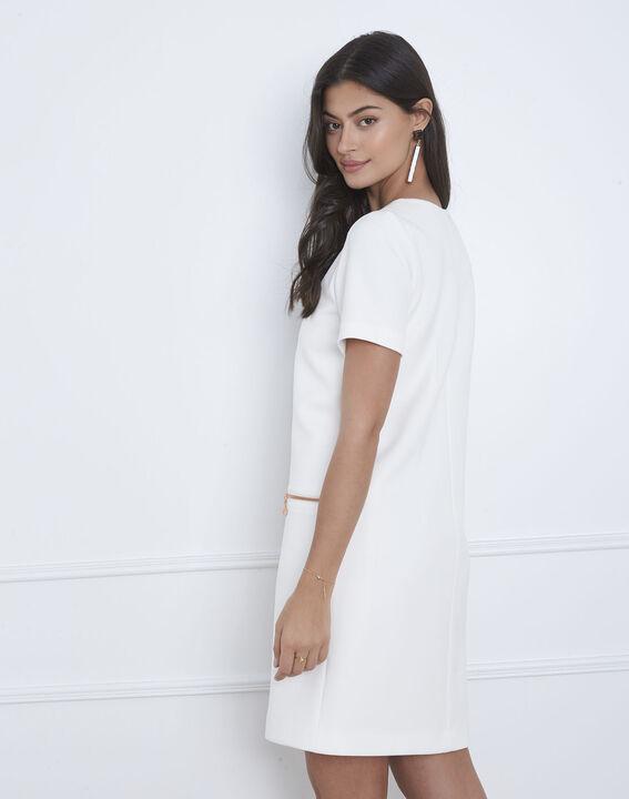 Robe blanche droite zips poches Legende (4) - Maison 123