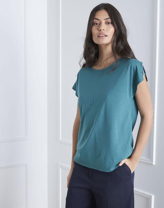 Tee-shirt vert détails épaules Palmbeach (2) - Maison 123