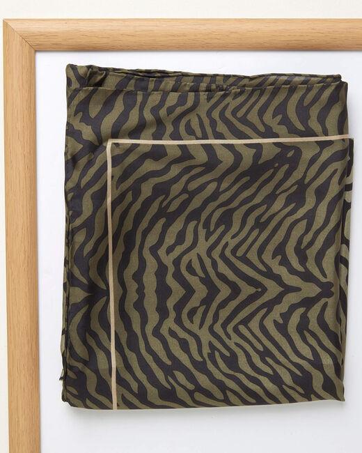 Carré de soie imprimé peau de bête kaki Anouk (1) - 1-2-3