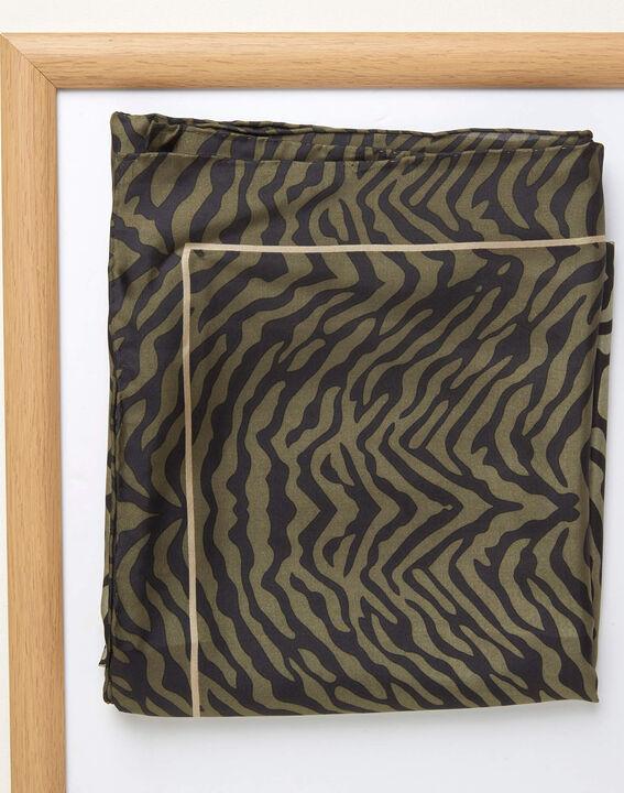 Kaki vierkante sjaal van zijde met dierenprint Anouk (2) - 37653