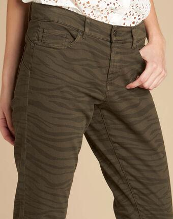 Slim fit-jeans mit zebra-print passy kaki.
