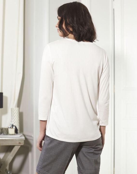 Ecrufarbene Bluse aus Bimaterial mit V-Ausschnitt Bianca (4) - 1-2-3
