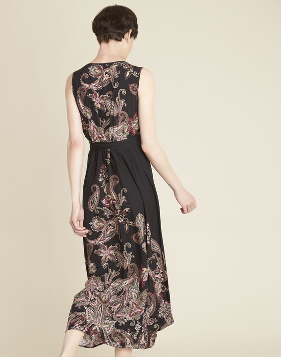 Dael long printed cashmere dress with belt (4) - 1-2-3