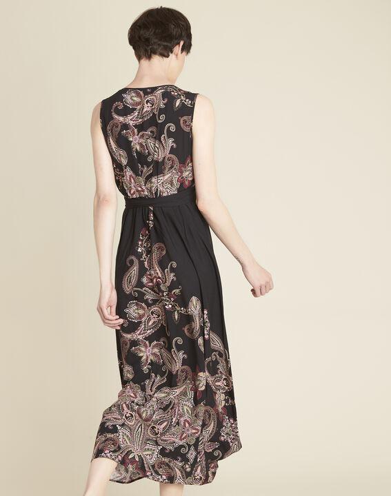 Langes Kleid mit Kaschmirprint und Gürtel Dael (4) - Maison 123