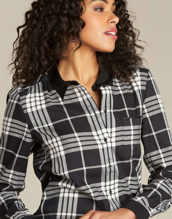 Dominique black and white check shirt (1) - 1-2-3