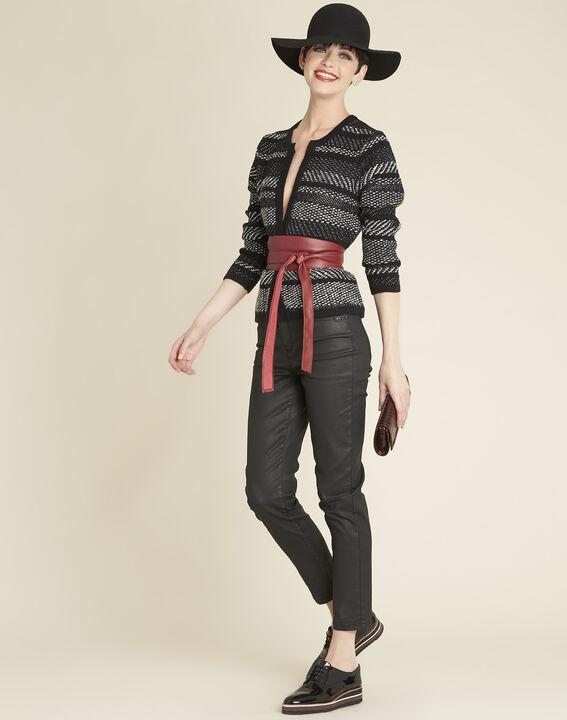 Beatrice black knit striped jacket (2) - 1-2-3