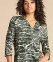 Esnake khaki printed T-shirt with granddad collar PhotoZ | 1-2-3