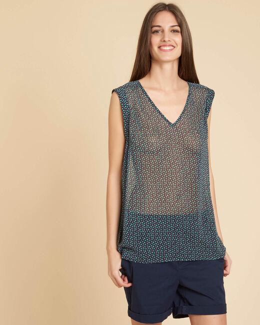 Lenaelle sleeveless navy top with pattern (2) - 1-2-3