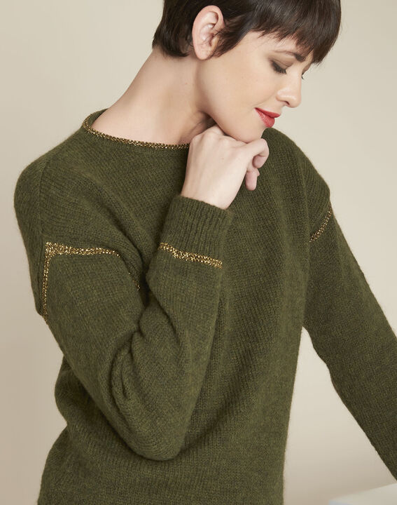 Bindies khaki pullover with gold band detail (3) - 1-2-3