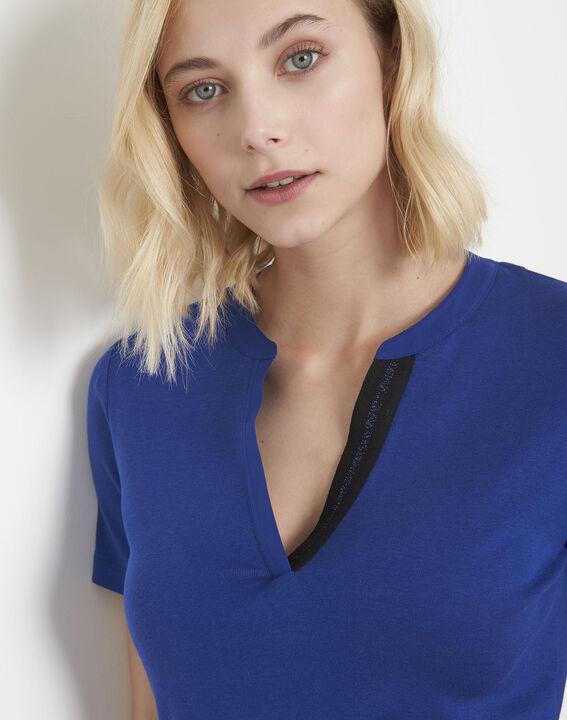 Tee-shirt bleu biais lurex Priscille (3) - Maison 123