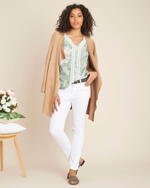 Amir light green blouse with floral print and lace (1) - 1-2-3