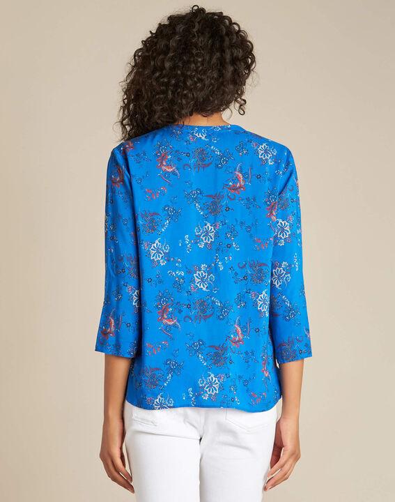 Königsblaue Hemdbluse mit persischem Blumenprint Galyn (4) - 1-2-3