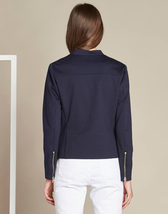 Fan navy shearling-style jacket in Milano (4) - 1-2-3