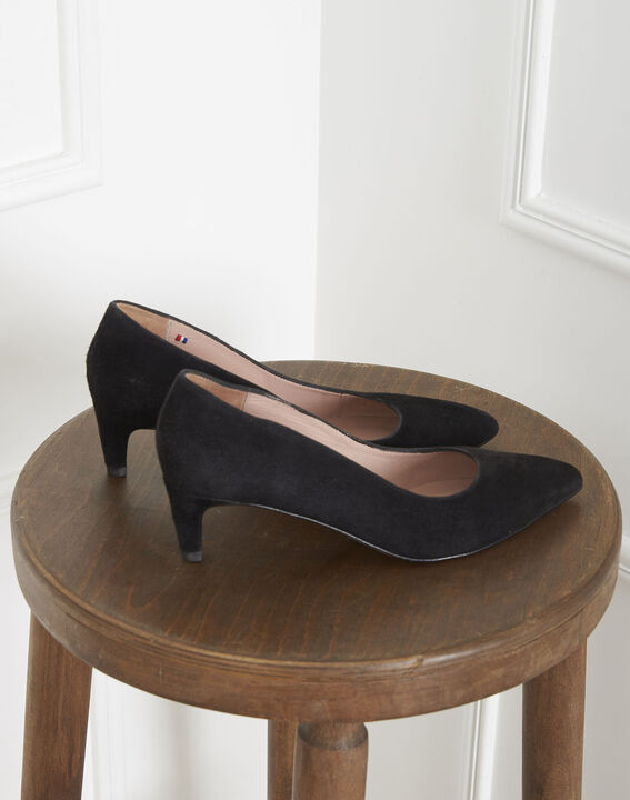 Lili black high heels in suede goatskin (4) - 1-2-3