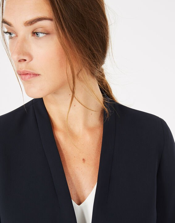 Veste de tailleur bleu marine mi-longue Majeste (4) - 1-2-3