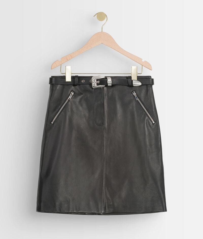 Mini jupe ceinturée en cuir noir Federica  PhotoZ   1-2-3