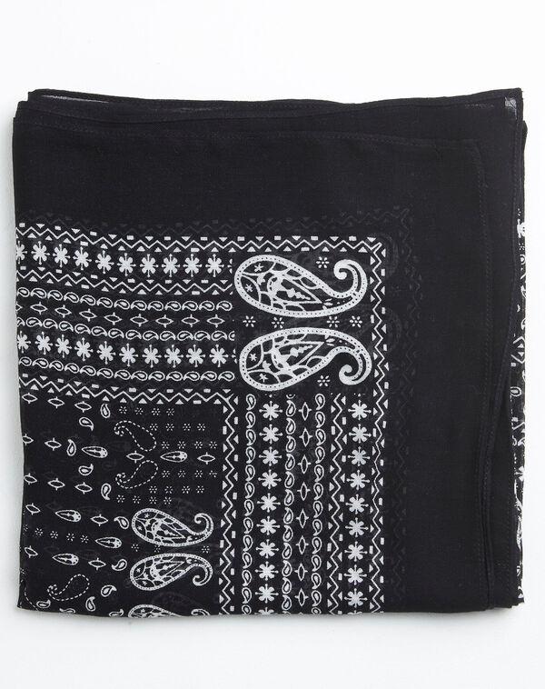 Amor bandana print black and white scarf (1) - 1-2-3