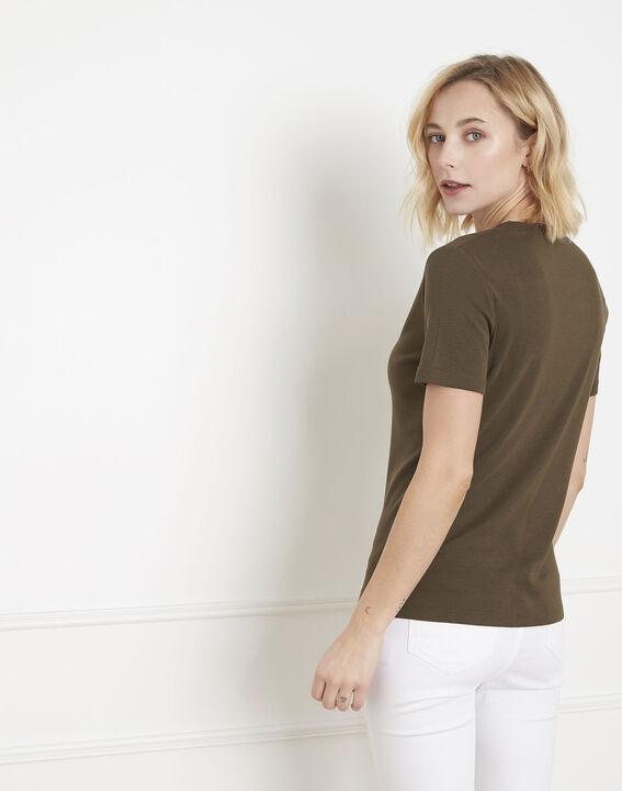 Khakifarbenes Shirt mit Lurex-Schrägband Priscille (4) - Maison 123