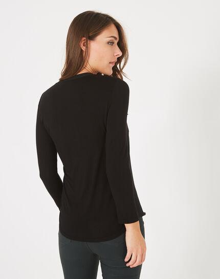 Schwarzes T-Shirt im Materialmix Leden (4) - 1-2-3
